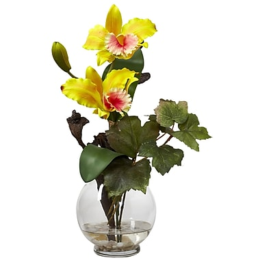 Nearly Natural 1275-YL Mini Cattleya Floral Arrangements, Yellow