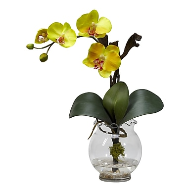Nearly Natural 1277-YL Mini Phalaenopsis Floral Arrangements, Yellow