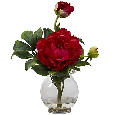 Nearly Natural 1278-RD Peony with Fluted Vase, Red