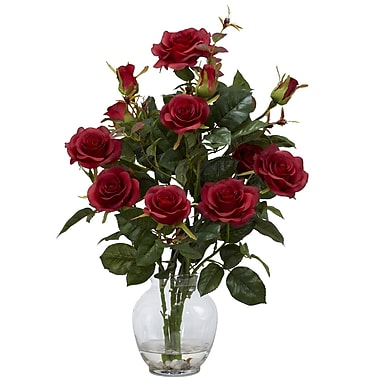 Nearly Natural 1281-RD Rose Bush Arrangements, Red