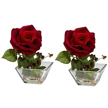 Nearly Natural 1285 Rose Floral Arrangements, Red