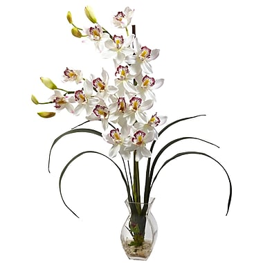 Nearly Natural 1293-WH Cymbidium Silk Floral Arrangements, White
