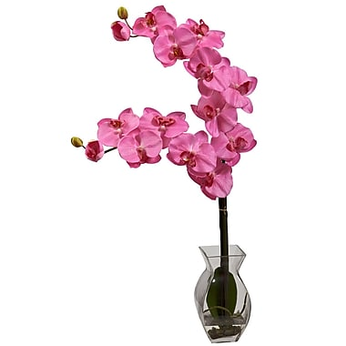 Nearly Natural 1295-DP Phalaenopsis Orchid with Vase Arrangements, Dark pink