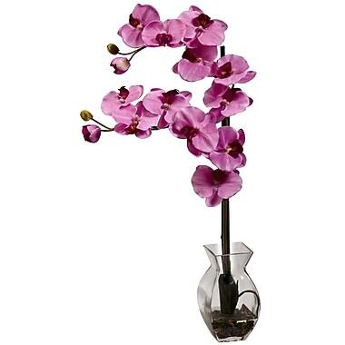 Nearly Natural 1295-MV Phalaenopsis Orchid with Vase Arrangements, Mauve
