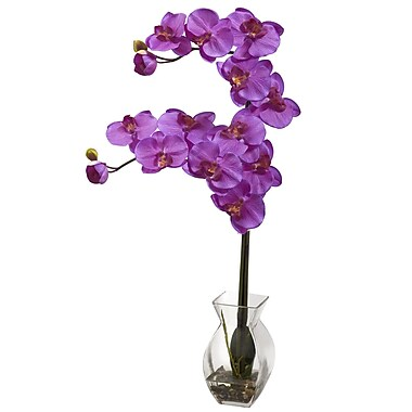 Nearly Natural 1295-OR Phalaenopsis Orchid with Vase Arrangements, Orchid pink