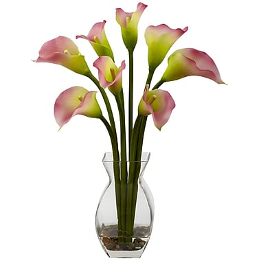 Nearly Natural 1296-PK Classic Calla Lily Floral Arrangements, Pink