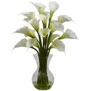 Nearly Natural 1299-CR Galla Calla Lily with Vase Floral Arrangements, Cream