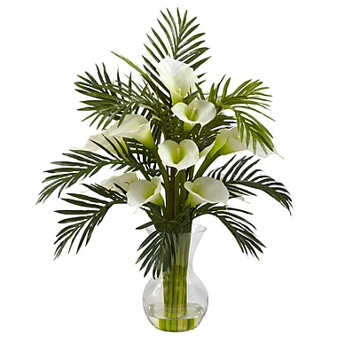 Nearly Natural 1301-CR Calla Lily and Palm, Cream