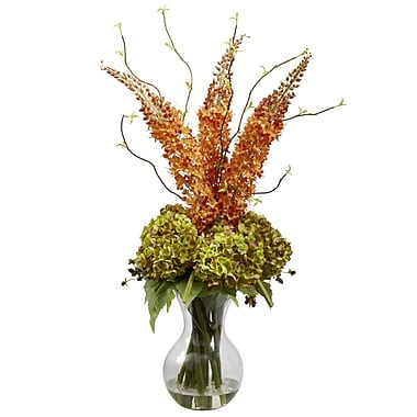Nearly Natural 1302 Fancy Foxtail and Hydrangea Floral Arrangements, Orange