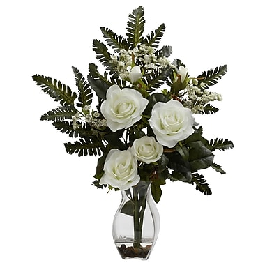 Nearly Natural 1308-WH Rose and Chryistam Floral Arrangements, White