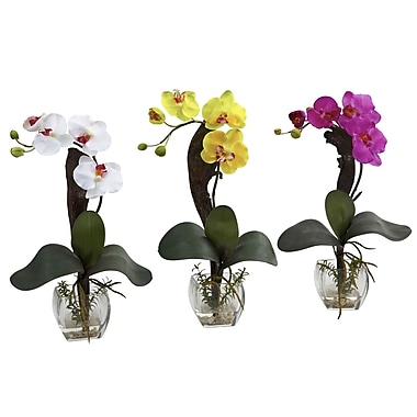 Nearly Natural 1311 Mini Phal Orchid Set of 3, Assorted