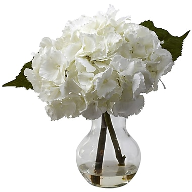 Nearly Natural 1314 Blooming Hydrangea Floral Arrangements, White