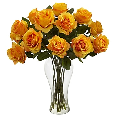 Nearly Natural 1328-OY Blooming Roses Floral Arrangements, Orange/Yellow