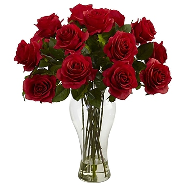 Nearly Natural 1328-RD Blooming Roses Floral Arrangements, Red