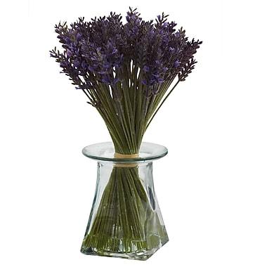 Nearly Natural 1331 Lavender Bundle with Vase Floral Arrangements, Purple