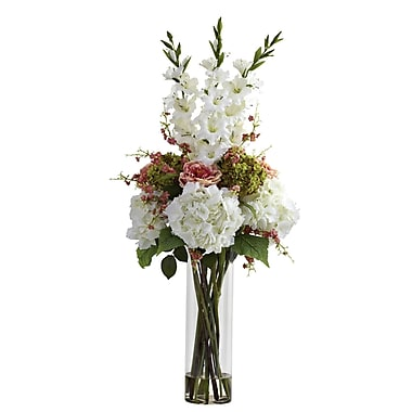 Nearly Natural 1337-WH Giant Mixed Floral Arrangements, White