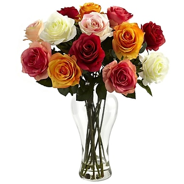 Nearly Natural 1348-AS Blooming Roses Floral Arrangements, Assorted