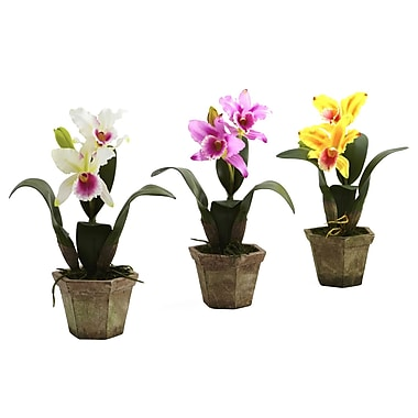 Nearly Natural 4067 Cattelya Orchid Set of 3, Assorted