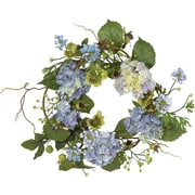"Nearly Natural 4642 20"" Hydrangea Wreath, Blue"