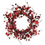 "Nearly Natural 4813 24"" Plum Blossom Wreath, Red"