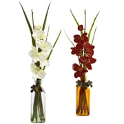 Nearly Natural 4824 Phalaenopsis in Jar Set of 2, Assorted