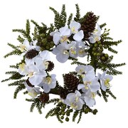 "Nearly Natural 4945 22"" Phalaenopsis Wreath, White"
