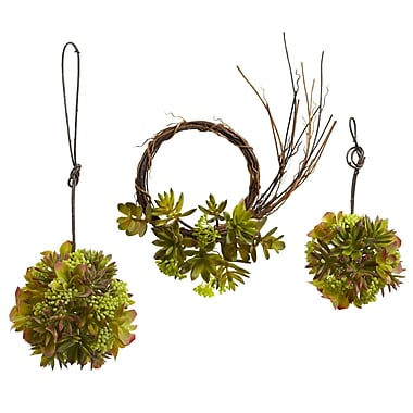 Nearly Natural 4970-S3 Mixed Succulent Set of 3