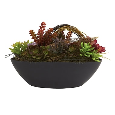 Nearly Natural 4980 Mixed Succulent Plant in Oval Pot