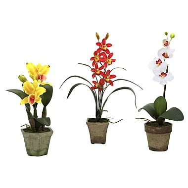 Nearly Natural 4985-A3-S3 Potted Orchid Mix Set of 3 Floral Arrangements, Assorted