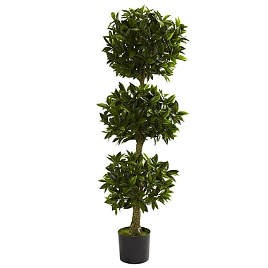 Nearly Natural 5381 5' Triple Bay Leaf UV Resistant Plant in Pot