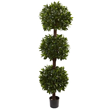 Nearly Natural 5399 Sweet Bay Triple Ball Topiary Plant in Pot
