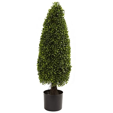 Nearly Natural 5412 3' Boxwood Topiary UV Resistant Plant in Pot