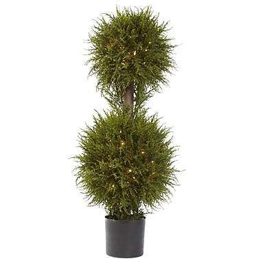 Nearly Natural 5916 Cedar Ball Topiary with Lights in Pot