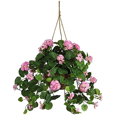 Nearly Natural 6609-PK Geranium Hanging Plant in Basket, Pink