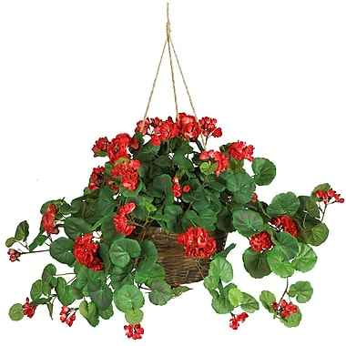 Nearly Natural 6609-RD Geranium Hanging Plant in Basket, Red