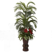Nearly Natural 6722 Areca and Mixed Greens Floor Plant in Decorative Vase