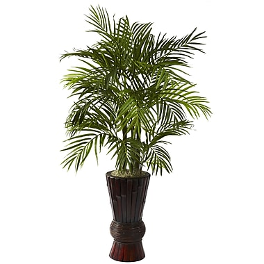 Nearly Natural 6723 4' Areca Floor Plant in Decorative Vase