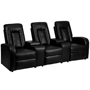 Flash Furniture Leather 3-Seat Home Theater Recliner With Storage Consoles, Black