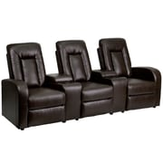 Flash Furniture Leather 3-Seat Home Theater Recliner With Storage Consoles, Brown