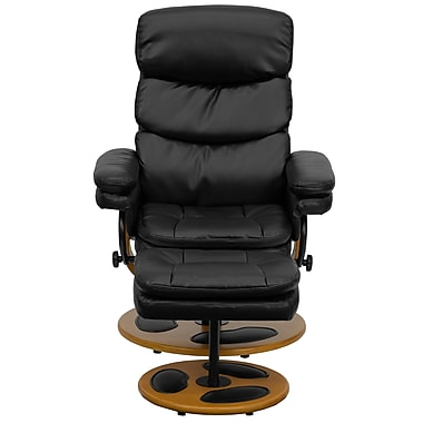 Flash Furniture Contemporary Leather Recliner With Plush Back and Ottoman With Wood Base, Black