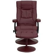 Flash Furniture Contemporary Leather Recliner and Ottoman With Leather Wrapped Base, Burgundy