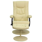 Flash Furniture Contemporary Leather Recliner and Ottoman With Leather Wrapped Base, Cream