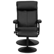 Flash Furniture Contemporary Leather Recliner and Ottoman With Pillowtop Headrest, Black