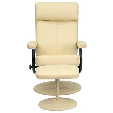 Flash Furniture Contemporary Leather Recliner and Ottoman With Pillowtop Headrest, Cream