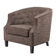 Madison Park Nell Barrel Chair; Chocolate-Charcoal