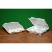 Genpak Vented Foam Hinged Carryout Container in White