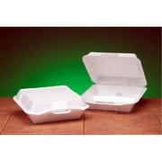 Genpak Foam Hinged Jumbo Container with 3 Compartment in White