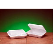 Genpak Foam Hinged Carryout Shallow Container in White