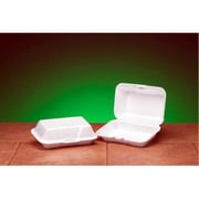 Genpak Foam Hinged Carryout Deep Container in White, 125/Bag