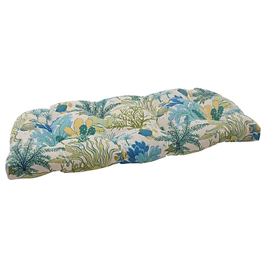 Pillow Perfect Splish Splash Outdoor Loveseat Cushion; Cream / Green / Blue / Turquoise